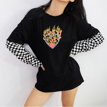 Women O-neck Long Sleeve Sweatshirt Casual Flaming Heart Print Hoodie Autumn Plaid Patchwork Pullovers Sweatshirts