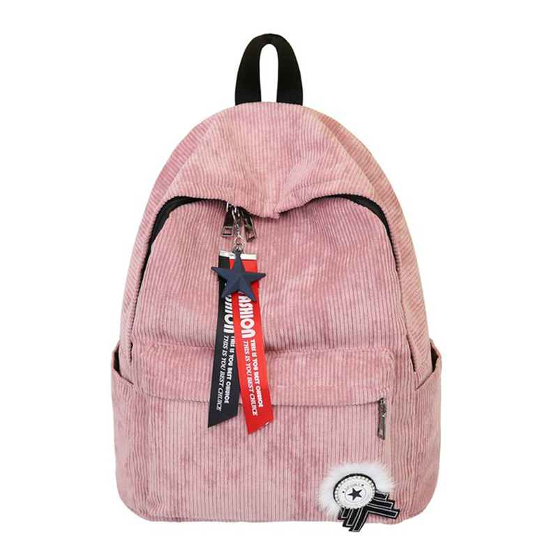 Women Backpack For Teenagers Girl Boy Corduroy School Bags High Quality Zipper Laptop Backpack Tassel Female Notebook Men Bags