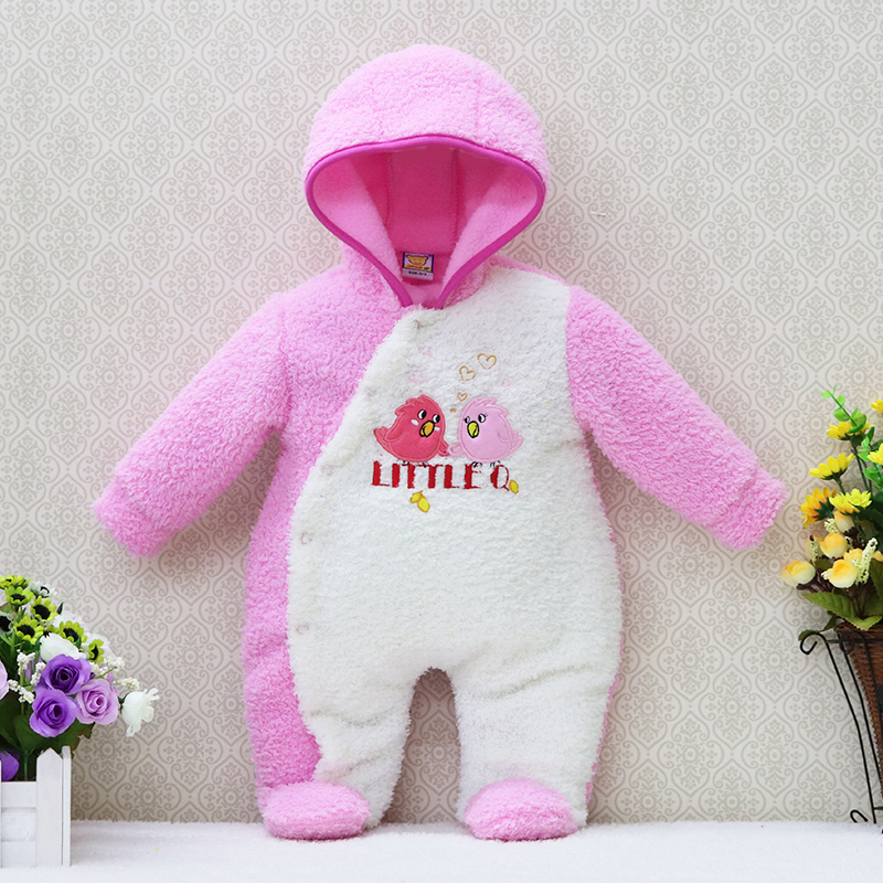 2017 newborn hoodie autumn and warm winter girls one piece romper long sleeve boys clothes coral fleece baby rompers