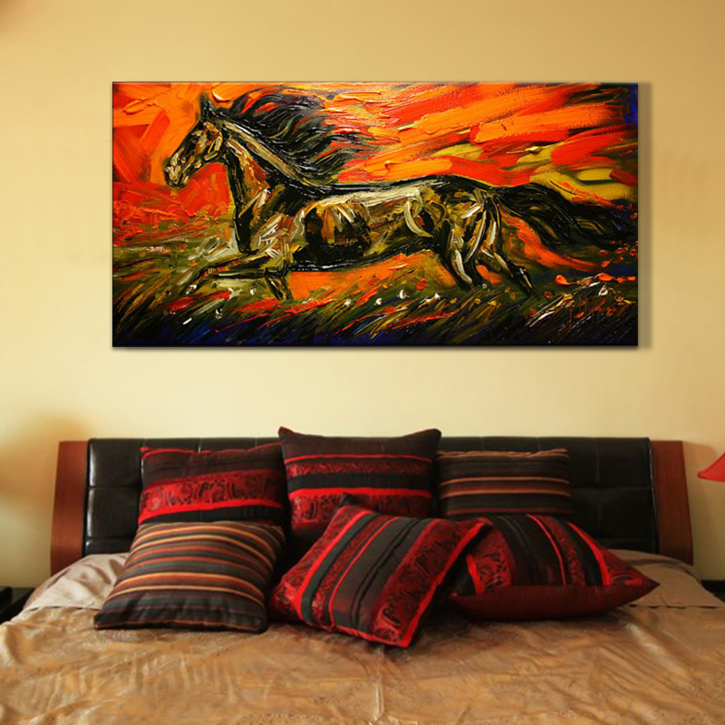 Hot sale horse print handpainted oil painting on canvas - Home interior horse pictures for sale ...