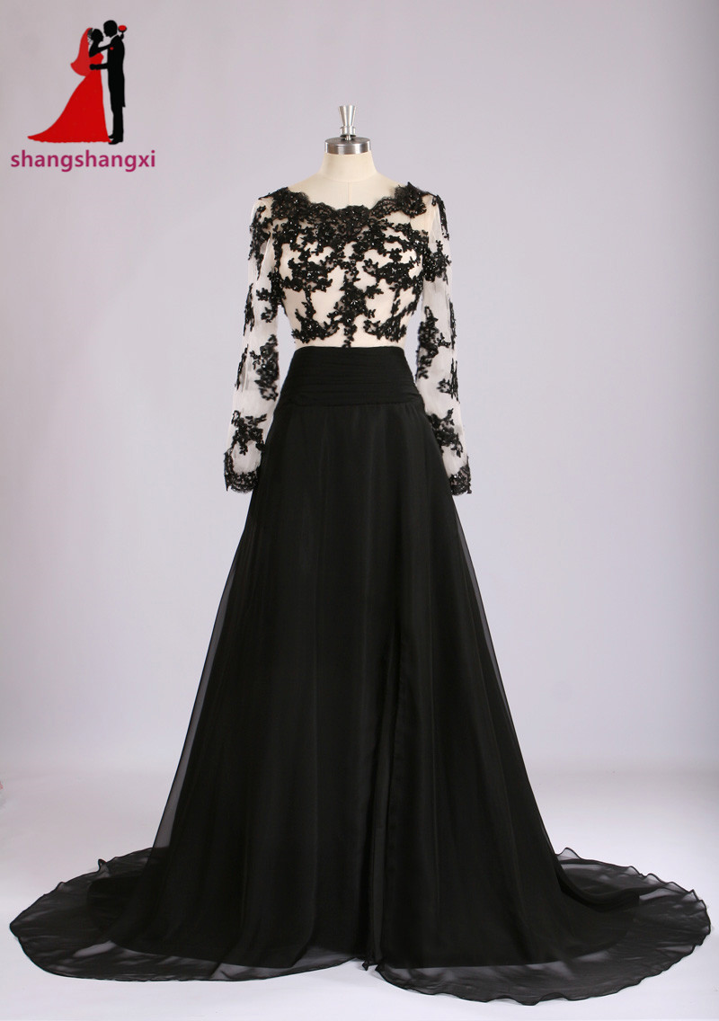 f11c203f372 Buy black long formal dress plus size and get free shipping on  AliExpress.com