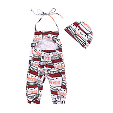 AiLe Rabbit 2017 INS New Little Baby Infant Romper + Hat 2pcs One Piece Baby Clothing Girls Boys Bottle Printing Kids Cotton