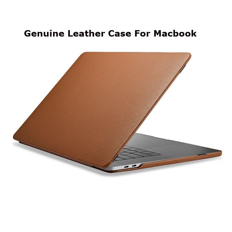 Housse pour ordinateur portable en cuir de vachette véritable pour Apple Macbook Pro 13 15 2018 2017 coque de protection pour Macbook A1706 A1708 A1989 A1707 A1990 - 2