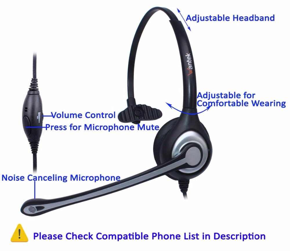 Wantek Corded Telephone RJ9 Headset Monaural with Noise Canceling  Microphone for Call Center Telephone Cisco 7942 7971 IP Phones