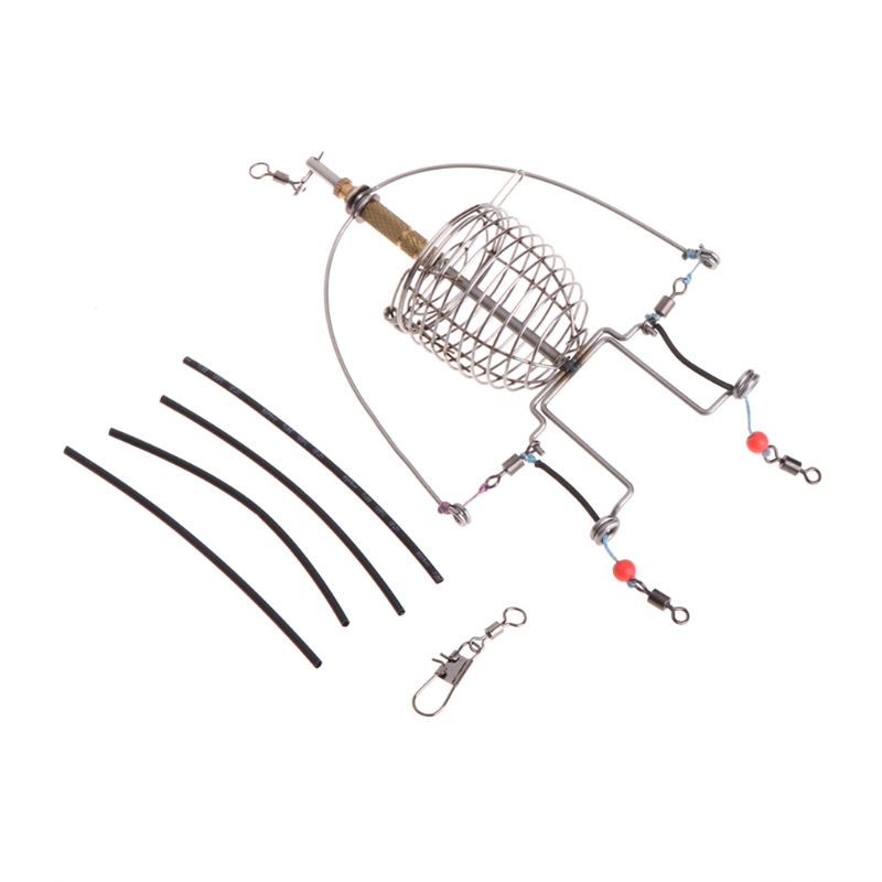 Fishing Feeder Automatic Tackle Multi Functional Launcher Trap Spring Cage Hook 10166