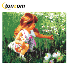 RIHE Girl Picking Flower Diy Painting By Numbers Oil On Canvas Hand Painted Cuadros Decoracion Acrylic Paint Home Art