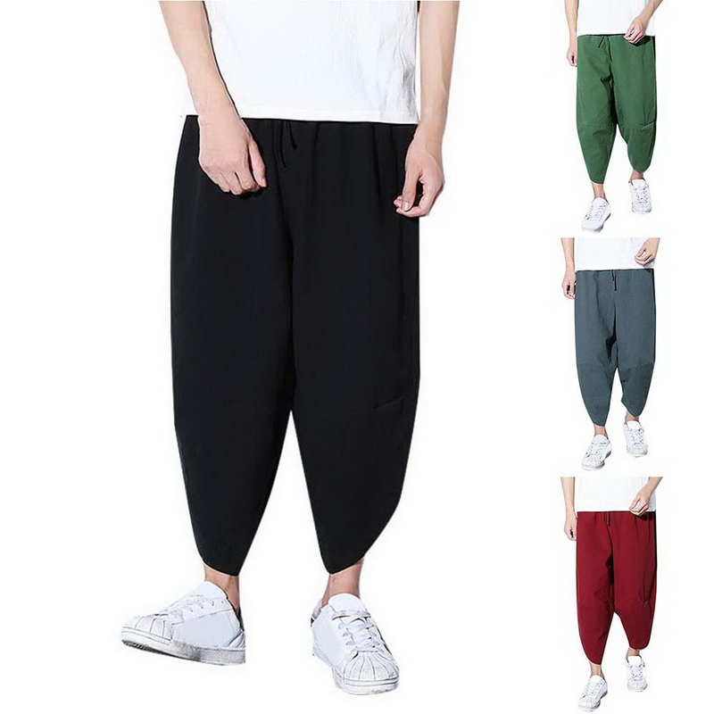 Heflashor Linen Pants Trousers Elastic-Waist Hip-Hop Loose Baggy Man Male Dance Men Ankle-Lenght