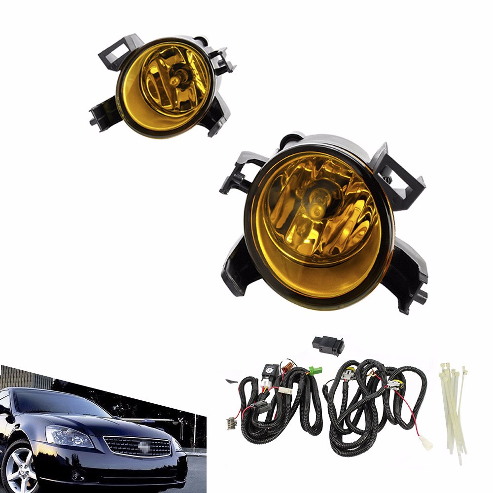 CNSPEED Fog light for 2005-2006 Nissan Altima 2004-2006 Quest fog lamp Clear/yellow Lens Bumper Fog Lights Driving Lamp TT100862 for opel astra h gtc 2005 15 h11 wiring harness sockets wire connector switch 2 fog lights drl front bumper 5d lens led lamp