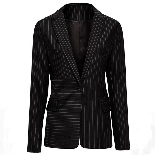 Ladies Office Blazers Striped Elegant Designer Long Sleeve Turn Down