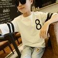 De las muchachas camisetas impresas para niños de los niños camiseta de las muchachas adolescentes verano ropa 2016 de las muchachas ropa Casual blanco negro rojo