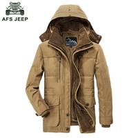 2018 Winter Down Jackets AFS JEEP Brand Jacket Cotton Padded Wool Male Thickening Long Coat Jacket Wholesale D206