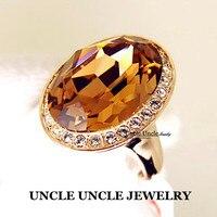 Ultra-big!!! Brand Design Rose Gold Farbe Große Österreichischen Kristall Champagner Finger Ring Großhandel