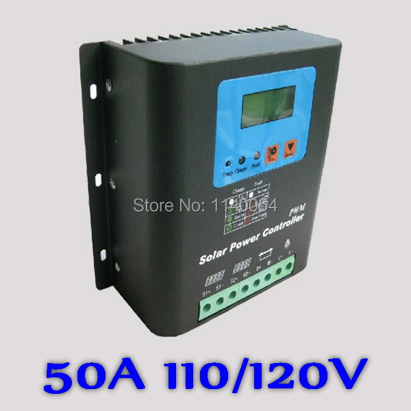 50A 110V or 120V Solar Charge Controller,110V or 120V Battery Regulator 50A for 6000W PV Solar Panels Modules, LED&LCD Display