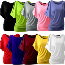 Women Batwing Sleeve Shirts Top Solid O-Neck Cotton Blend Summer Tee Tops Female Plus Size Casual Shirts