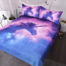 Galaxy Unicorn Bedding Kids Girls Psychedelic Space Duvet Cover 3 Piece Pink Purple Sparkly Unicorn Bedspread(China)