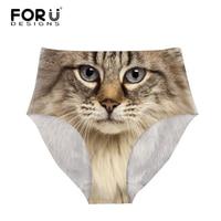 FORUDESIGNS Sexy High Waist Panties For Women Cute Print Animal Cat Owl Underwear Underpants Seamless Ladies