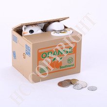 лучшая цена Multi Styles Automated Cat Stealing Money Piggy Bank Stealing Coins Saving Box Best Gift Funny Box Fun For Children