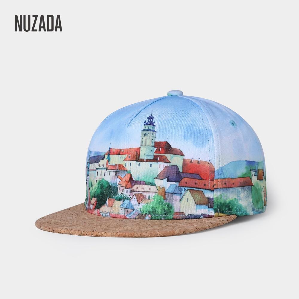 NUZADA Snapback Fashion 3D Printing Women Men   Baseball     Cap   Spring Summer Hat Cork   Caps   Bone Vintage European Town