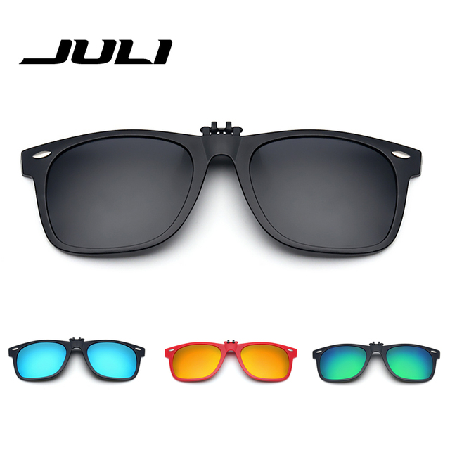 37d04f6c19c Fold Polarized Clip on Sunglasses Clip Glasses Retro Rivet Polaroid Lens  Men Women Mirror Clip Sun Glasses Night Vision Driving