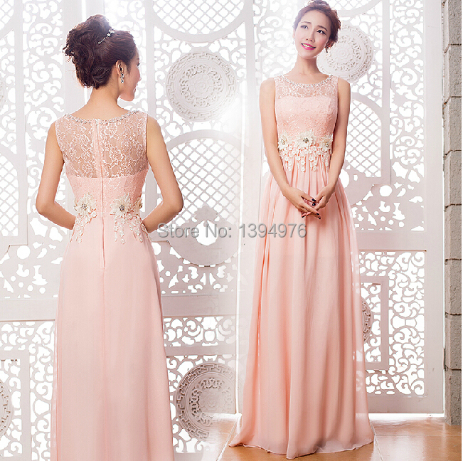 Free shipping new design pink crystal long bridesmaid dresses 2015 ...