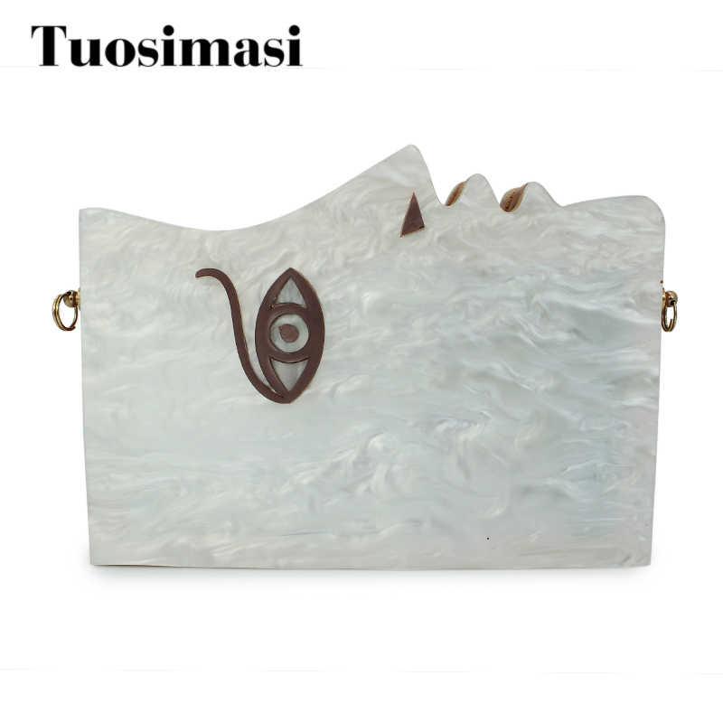 Белая акриловая Модные клатчи лицо узор популярны сумки женские сумки (C180)