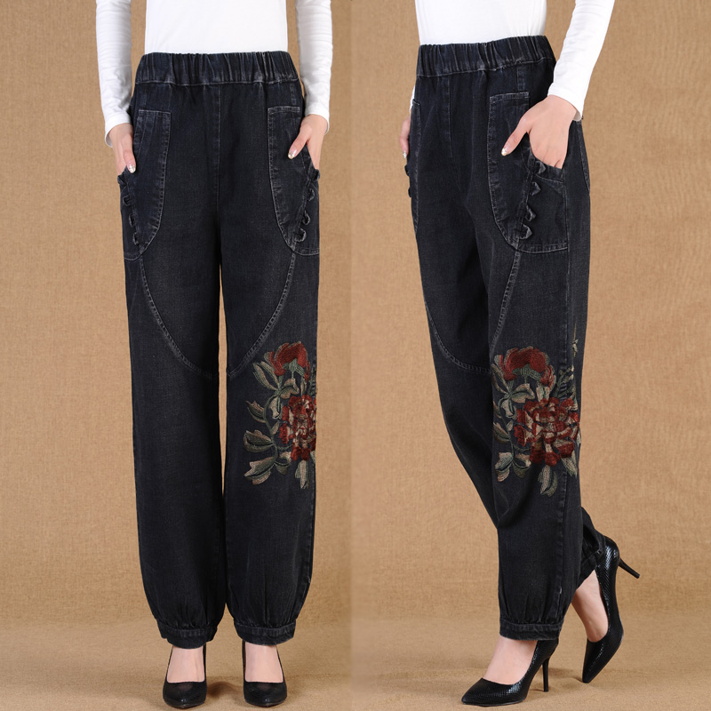 Embroidered   jeans   women spring and autumn new wide leg pants loose plus size M-4XL elastic waist long trousers bloomers