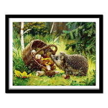 Diamond  Hedgehog Cross Stitch Rhinestone Full Round Diamond Embroidery Animal Picture Diamond Painting Home Decor