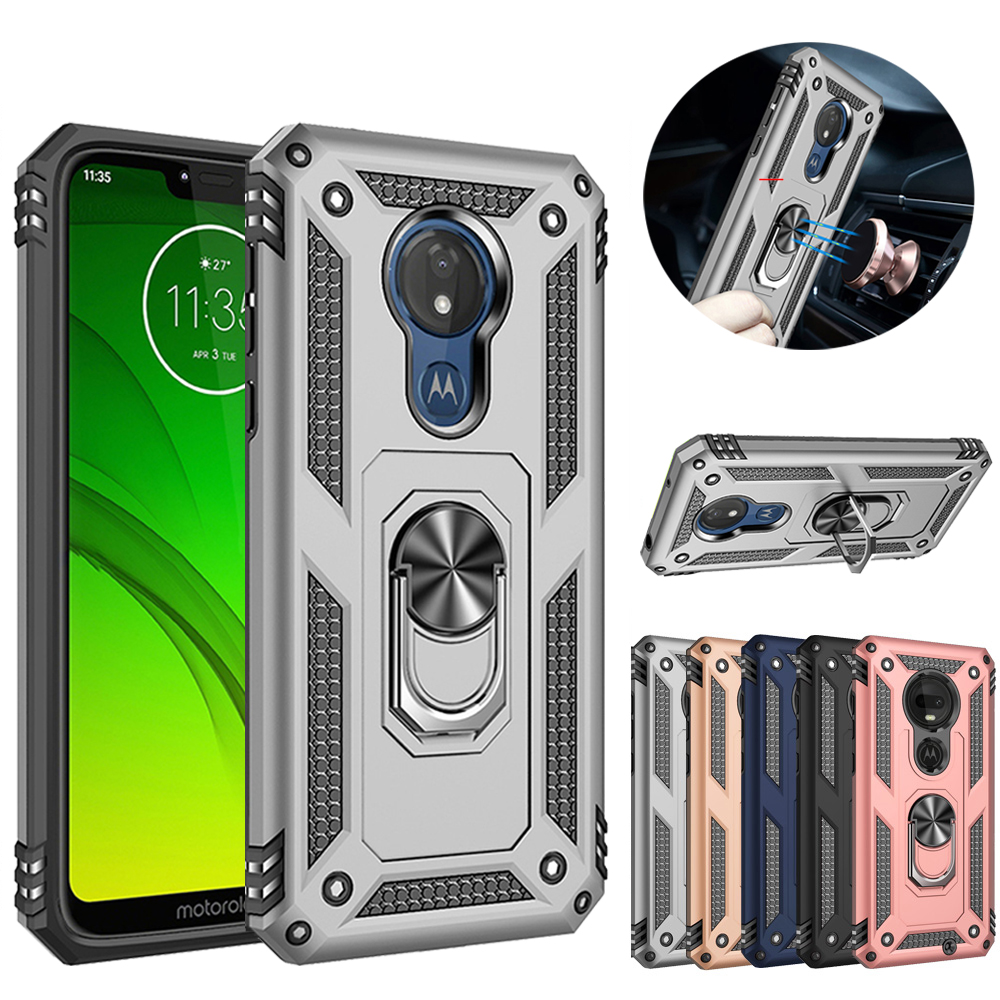 For Motorola Moto G7 Power Dual Layer Military Armor Case Magnetic Ring Stand Slim Shockproof Hard Cover in Fitted Cases from Cellphones Telecommunications