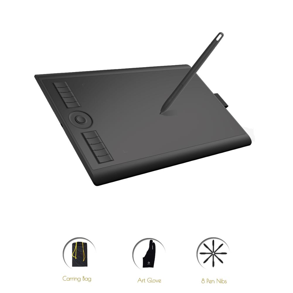 GAOMON M10K 2018 Version 10 x 6.25 Inches Art Digital Graphic Tablet for Drawing with 8192 Level Pen Pressure Passive Stylus image