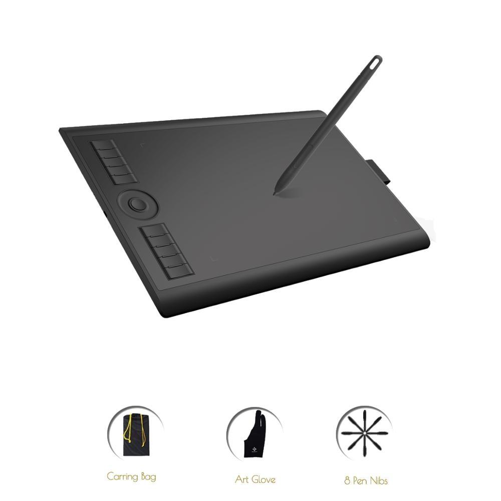 Tablet com caneta de desenho gráfico GAOMON M10K versão 2018 10 x 6,25 polegadas com stylus passiva com 8192 níveis de pressão
