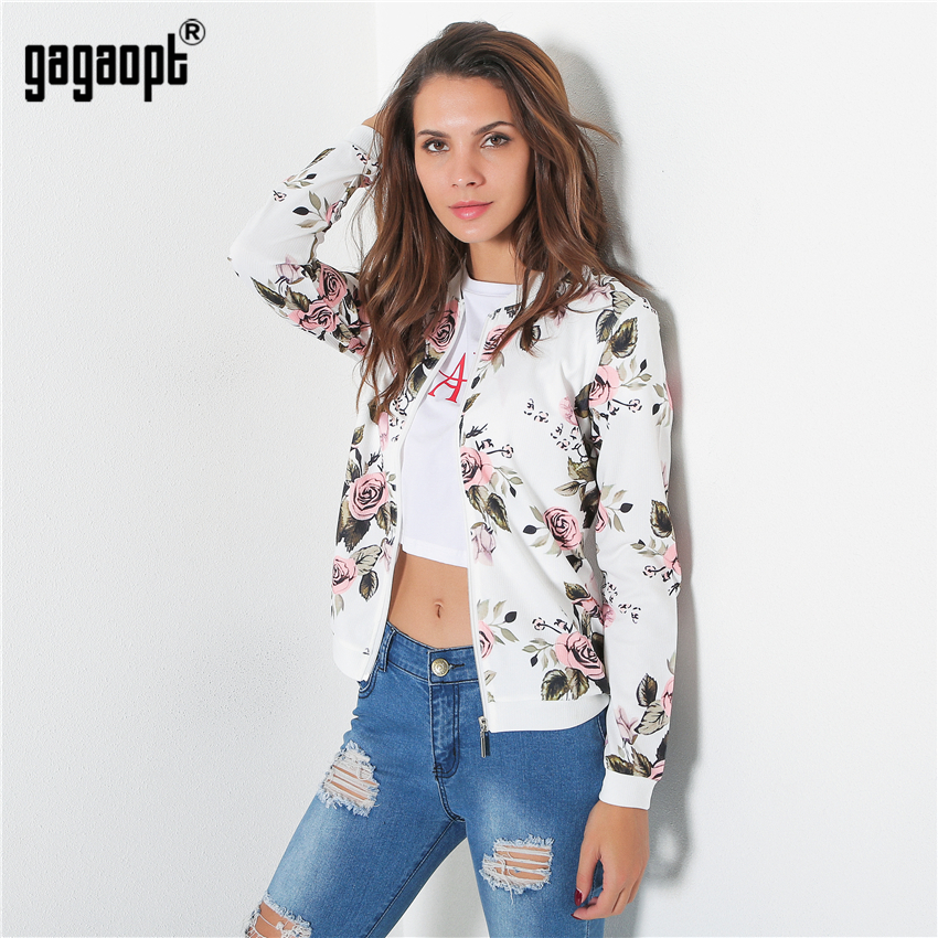 c04a5474621 Gagaopt 2018 Autumn New Embroidery Floral Printed Denim jacket for women  Long Sleeve Solid White Color Casual Cardigan Femme-in Basic Jackets from  Women's ...