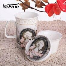 Ceramices YeFine Flor Juego de Té de Porcelana Tazas de Cerámica de Estilo Occidental con Infusor de Té Y Té de China de Hueso Tapa de Alta Calidad tazas
