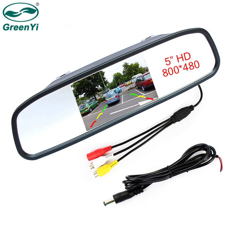 GreenYi High Resolution 5 Inch HD Rear View Car Interior Mirror Monitor 2CH Video Input 800*480 DC 12V