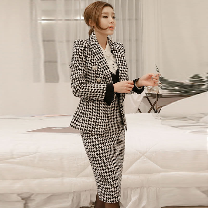 Women Professional skirt suits autumn winter fashion houndstooth suit Office Lady suit skirt Blazers jacket&skirt 2 Piece set