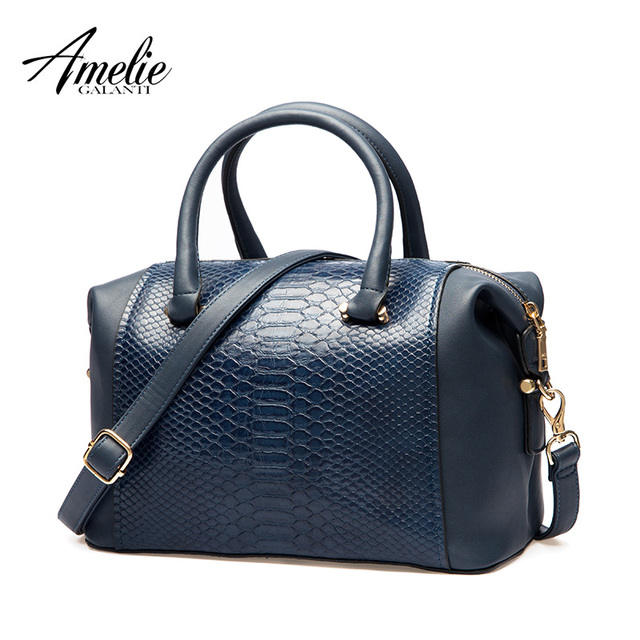 AMELIE GALANTI Handbag Women Totes classic Patchwork Serpentine Large capacity Daily use Common style Suitable for all ages 2018