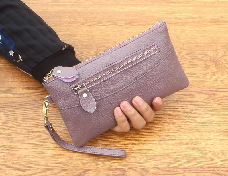 KANDRA Smartphone Wristlet Bag Genuine Leather Slim Wallet Clutch Cell Phone Wristlet Wallets for Women Card Holder Coin Purse in Wallets from Luggage Bags