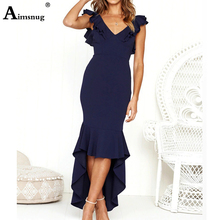 Aimsnug White Navy Maxi Dress Ruffle Hem Fit and Flare Long Backless Dress Women Spring Autumn Sleeveless Elegant Party Dresses все цены