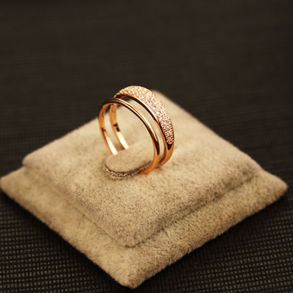 High Quality Fine Jewelry 18K Rose Gold Rings For Women Cubic Zircon