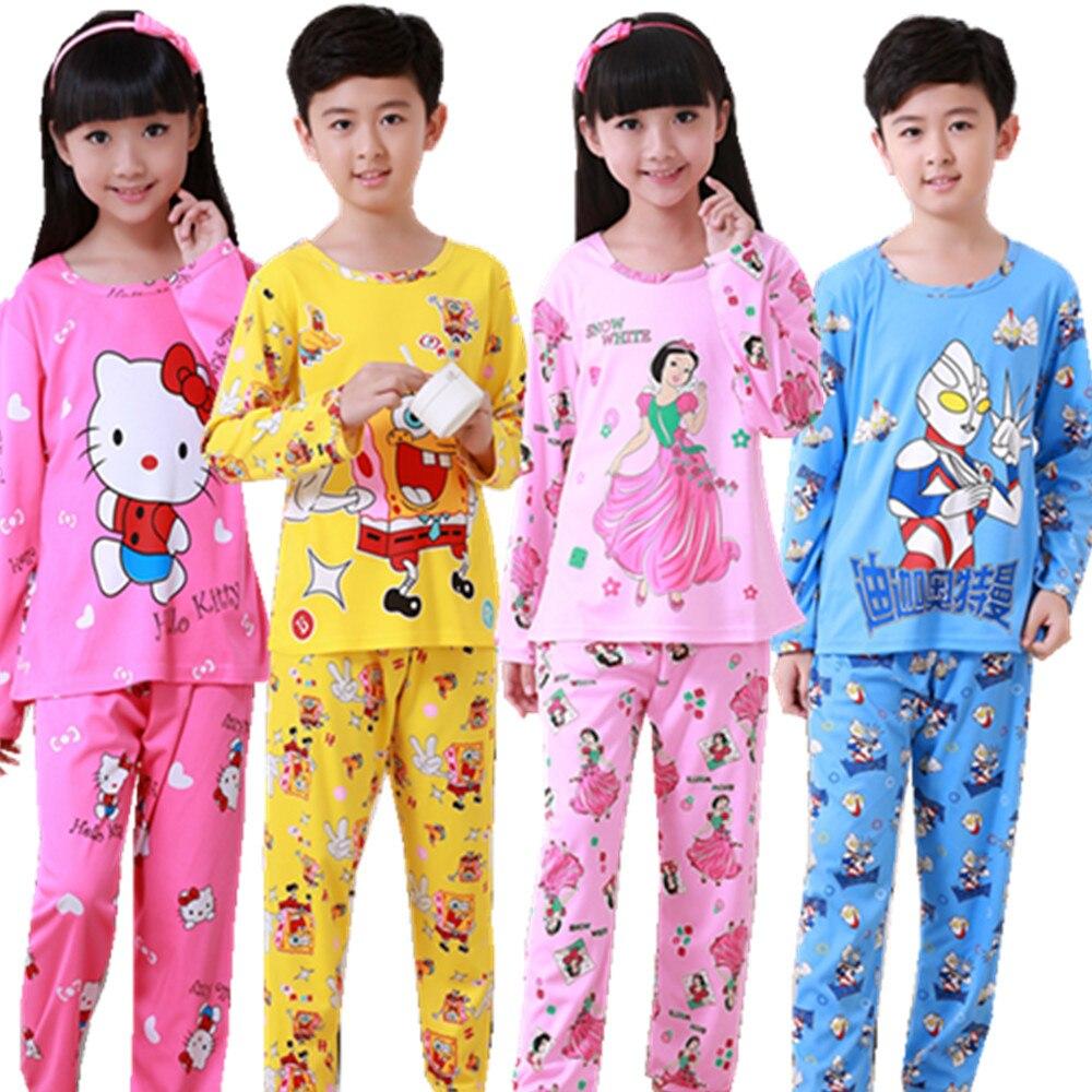 Otoño Invierno niños pijamas manga larga de dibujos animados niños Catamite traje ropa de los niños encantadores Pijamas Niño ropa