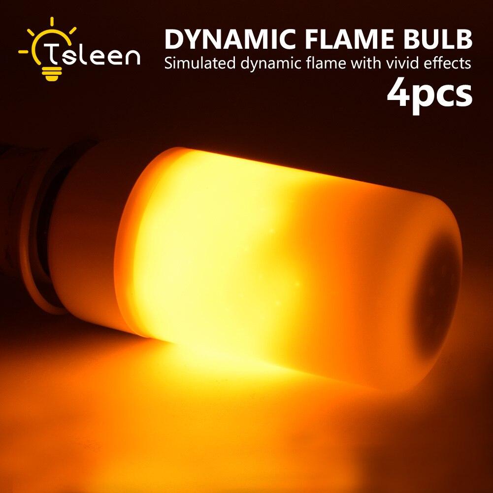 4X 2835 SMD 99 LED Lamp Bulb E27 E14 B22 E26 Flame Firing Flickering Effect LED Light Bulb 220V 110V Emulation Flame Light 1800K