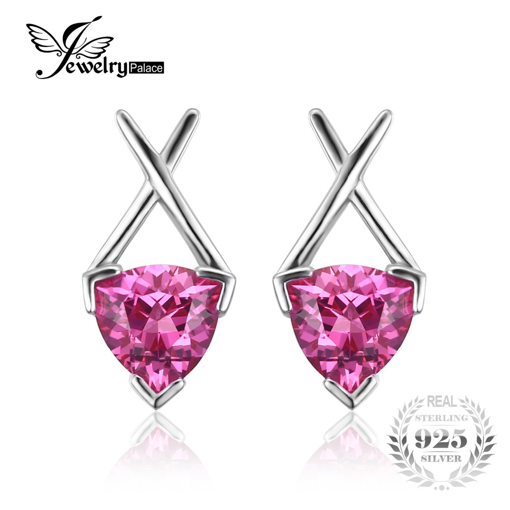 Jewelrypalace Unique X 338 Ct Triangle Created Pink Sapphir Stud Earrings  925 Sterling Silver Jewelry For