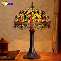 FUMAT Art Table Lamp High Quality Creative Dragonfly Stained Glass Table Lamp Home Decor For Living Room Office Light Fixtures