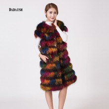 Vogue of new fund of 2016 ms discus the fox fur vest extended 90 cm warm fur vest bag postal mail