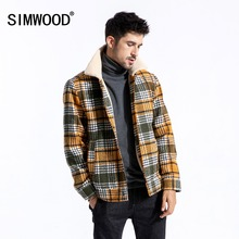 SIMWOOD 2019 Winter Men Jackets Fashion Plaid Casual Blends