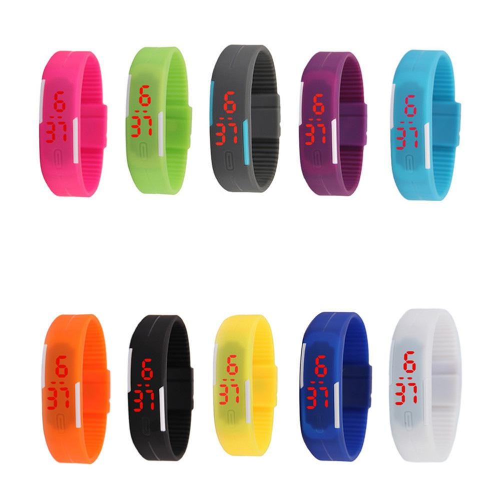 LinTimes Solid Color Children LED Electronic Bracelet Touch Screen Wrist Watch Perfect Gift