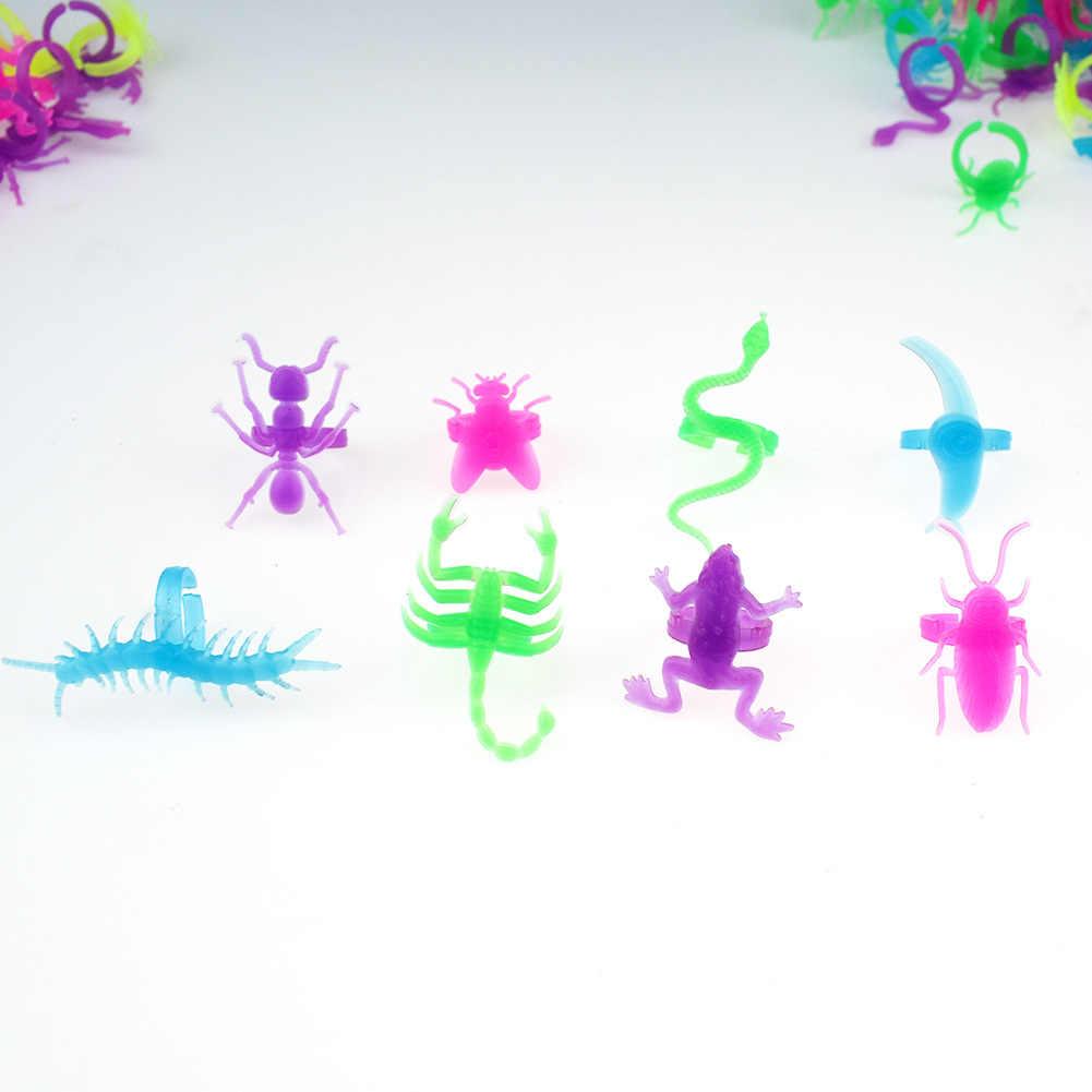 10 Pcs בעלי החיים עיצוב מגניב ליל כל הקדושים ריקוד מסיבת אביזרי צעצועי זוהר חרקים טבעת זוהר בחושך צעצוע לילדים GYH