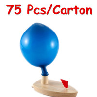 FCL Wholesale 75Pcs/Carton Schylling Balloon Powered Boat Classic Wooden Toys Child Wooden Bath Toys Christmas Birthday Gift