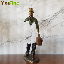 Small size bruno catalano bronze traveler sculpture famous product sales indoor desktop decoration ornaments