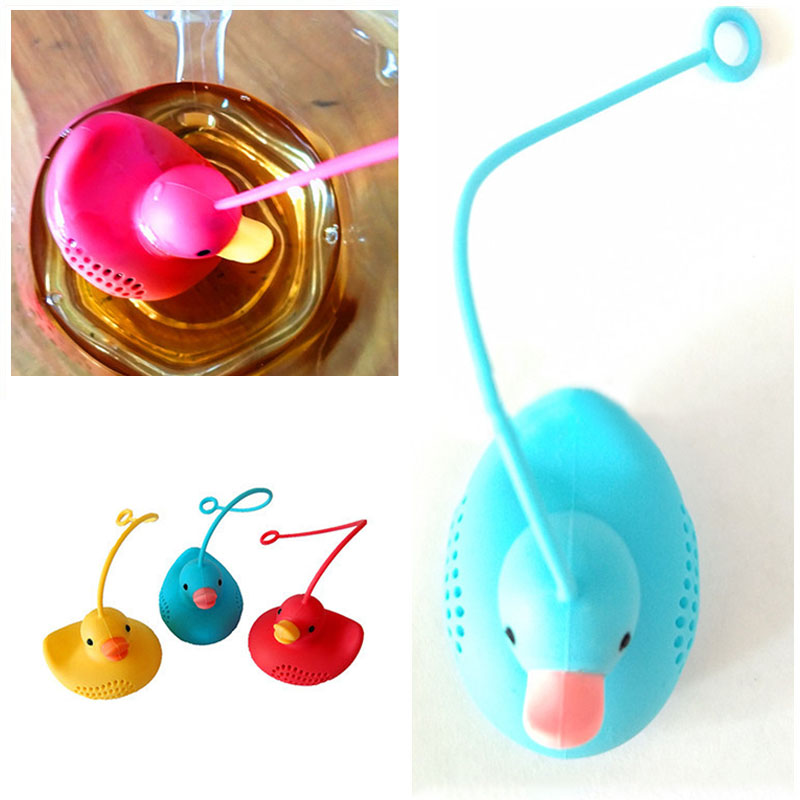 1Pcs Tea Strainers Food Grade Creative Yellow Duck Shape Tea Infuser Kitchen Accessories Loose Leaf Diffuser Silicone Reusable
