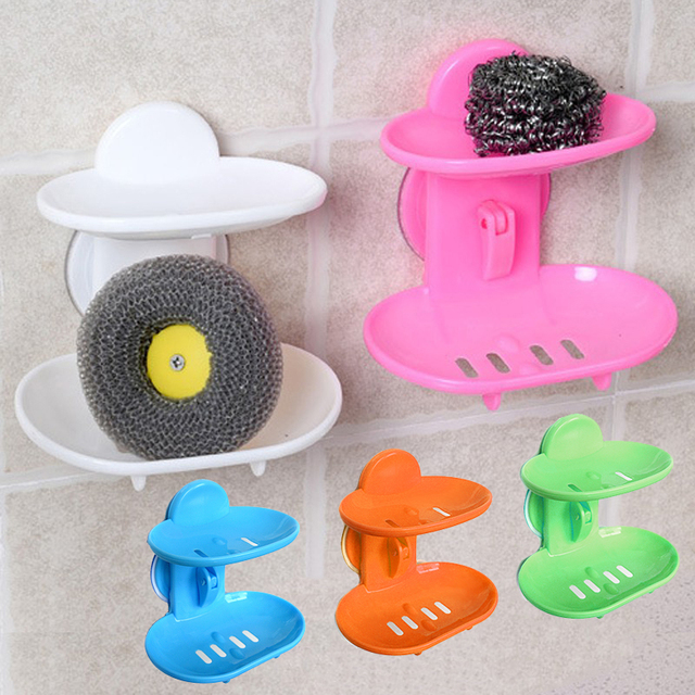 1PC Two Layer Suction Soap Holder Bathroom Accessories Soap Dish Storage Basket Water Seeping  Soap Box Stand Holder